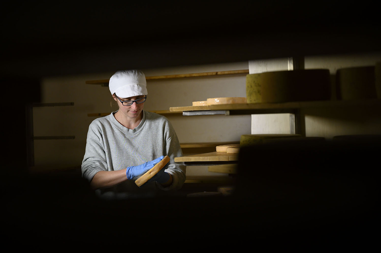 Karo bearbeitet im Käsekeller ihrer Käserei den Käse