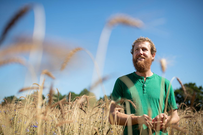Getreide-Bauer Philipp steht im Getreidefeld