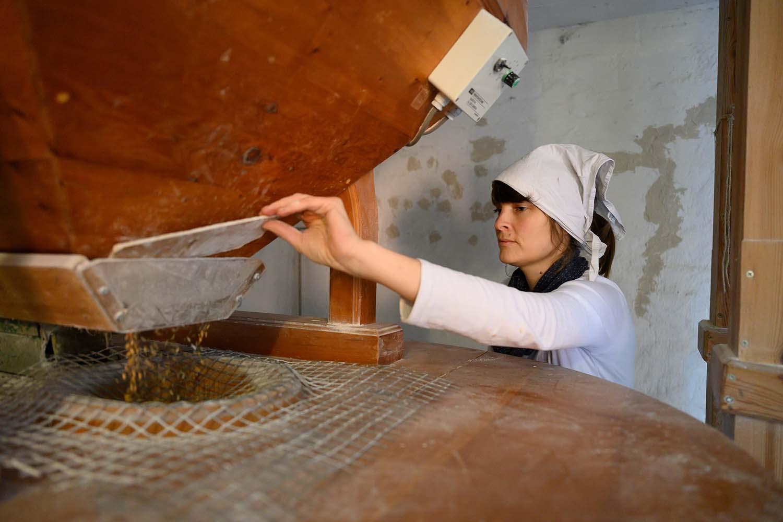 Bäckerin Verena mahlt in der Mühle Mehl