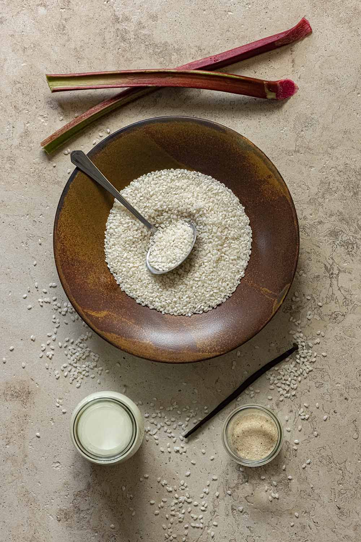 Zutaten für Milchreis mit Rhabarber
