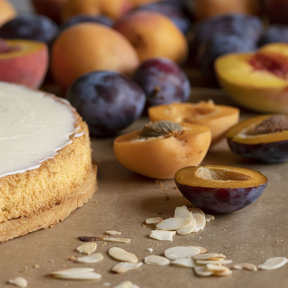 Obstkuchen mit Frischkäse und frischen Früchten