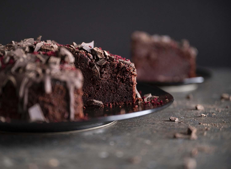 Rote-Bete-Schoko-Kuchen im Anschnitt