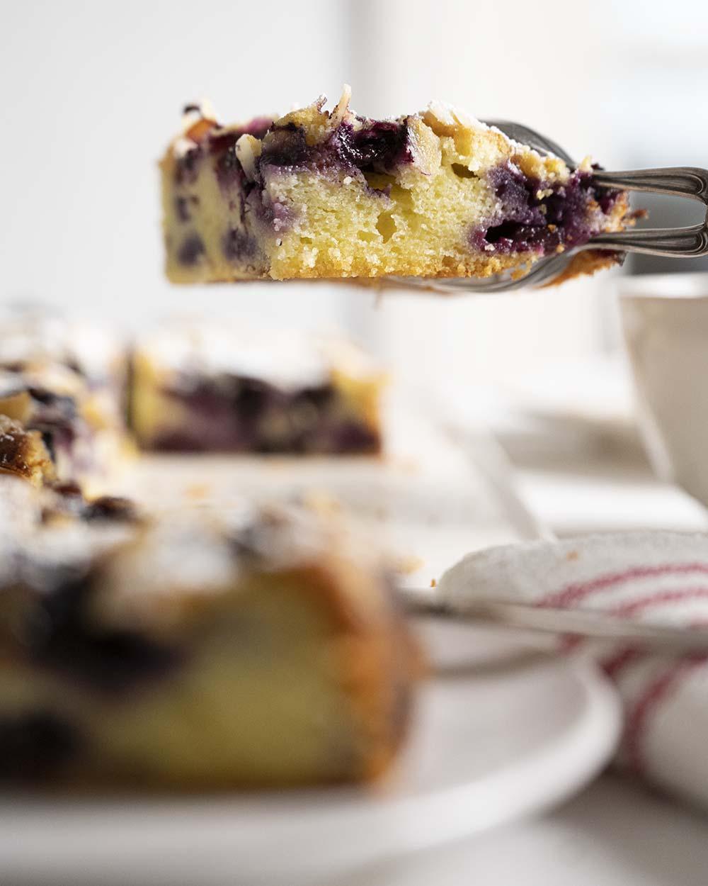 Wir heben ein Stück Joghurtkuchen mit Heidelbeeren in de Luft, damit man die schöne Struktur und dievielen Beeren sehen kann.