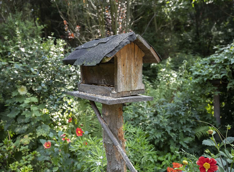 Die Aufnahme zeigt ein Vogelhaus im Garten der Wahlens.