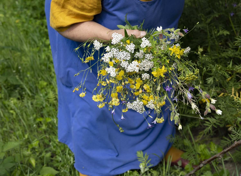Nahaufnahme des Straußes mit Wildblumen, die Birgit Wahlen auf ihren Feldern pflückt.